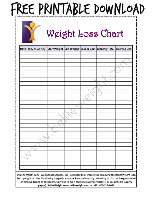 weight loss chart printable blank